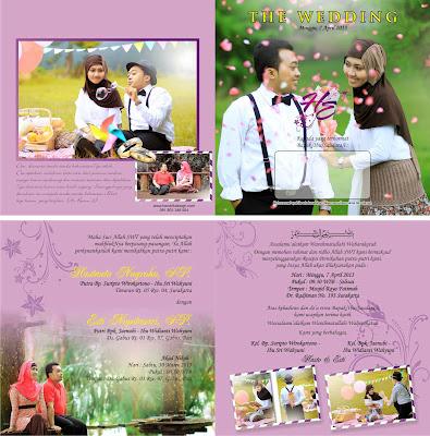 Contoh Undangan Pernikahan Pink Lipat Dua (HCGD-03)