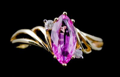 Purple pink bicolor sapphire solitaire