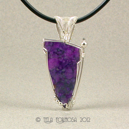 Rare Large Flowering Purple Sugilite Richterite Argentium Sterling Silver Pendant