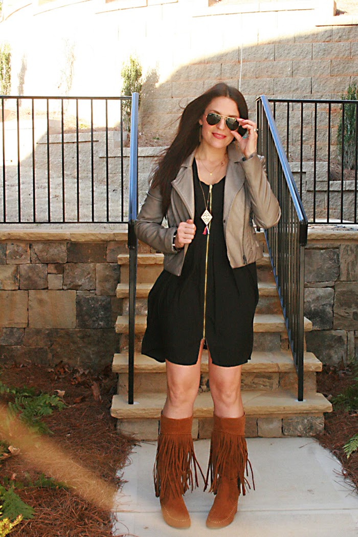 fringe boots outfit ideas black dress ray-ban sunglasses