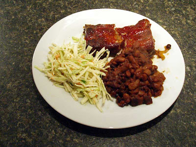 Ribs and beans and coleslaw, yummy