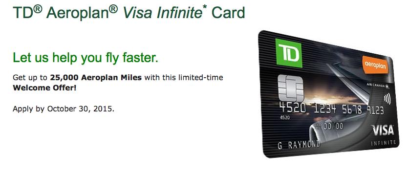 Rewards Canada New Td Aeroplan Visa Infinite Offer 25000 Bonus
