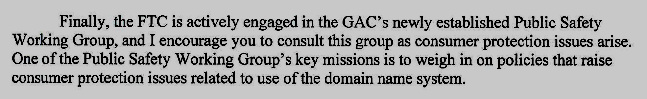 Excerpt from FTC Chairwoman Edith Ramirez letter to ICANN in the dotSUCKS case