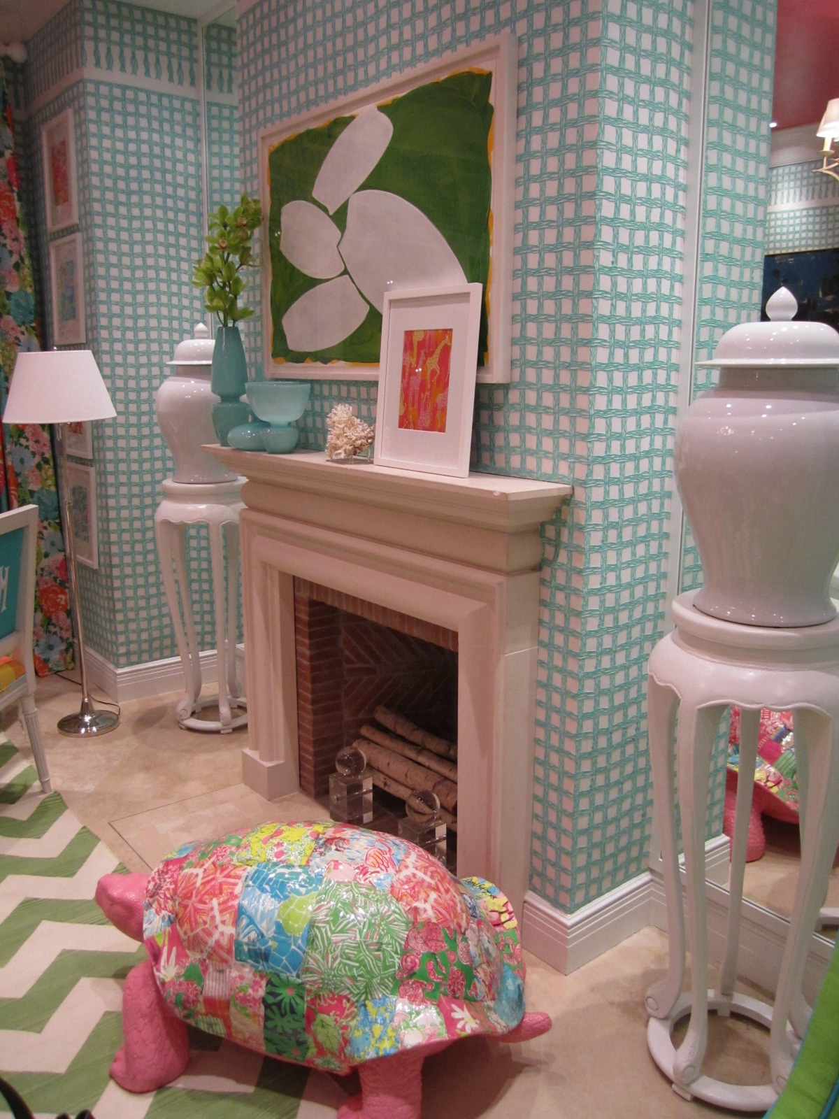 papier mache turtle adds a lively element to the space and you know  title=