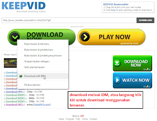 pilih format video yang hendak di download