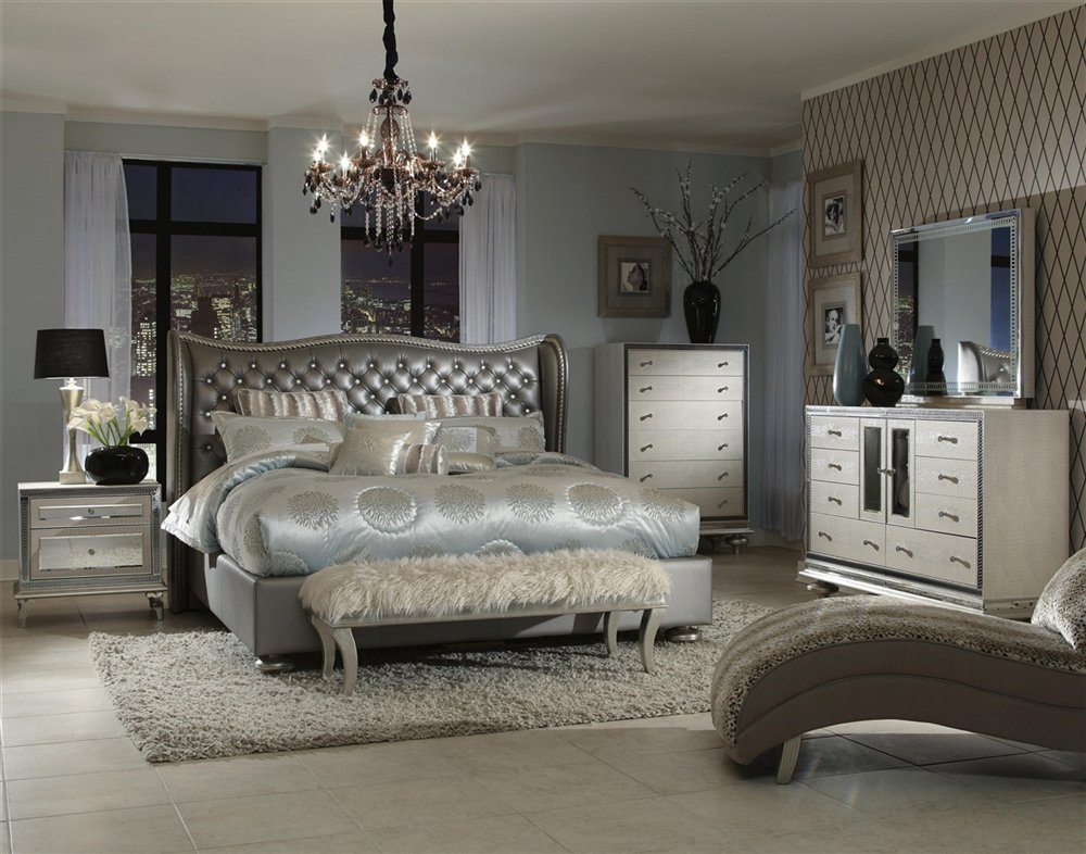 Hollywood Regency Style Bedroom Furniture: Metallic Tufted Bed