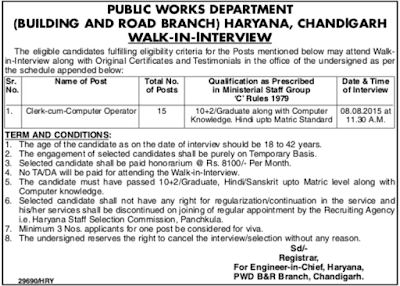 PWD Recruitment 2015