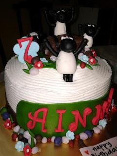 "Carameal Butterscotch cake with ""Shaun the Sheep"" theme for Ainna 7..."