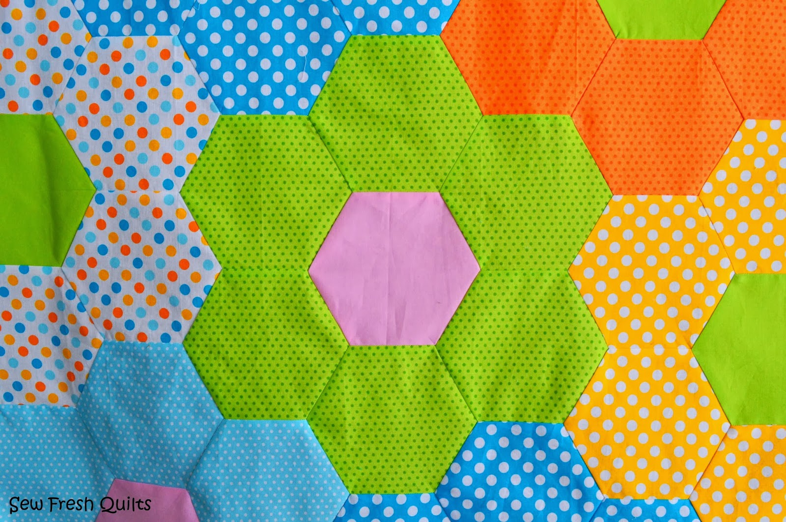 Free Quilt Pattern For Hexagon : Sew Fresh Quilts: Tutorial for Sewing Hexagons by Machine