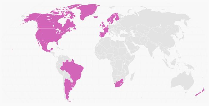 Mapa com os países onde o casamento gay já é legal.