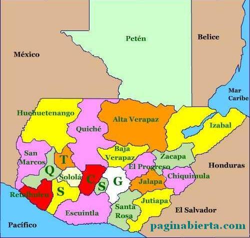 mapa de guatemala con departamentos