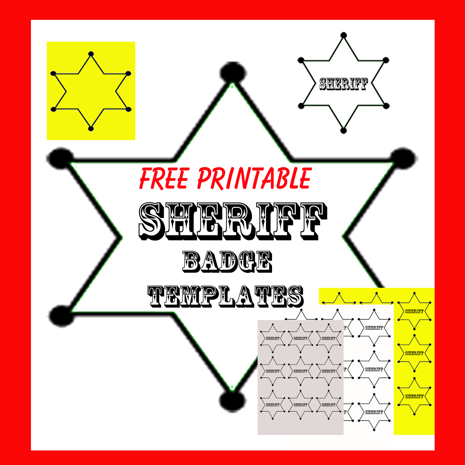 Punchy image with printable sheriff badge