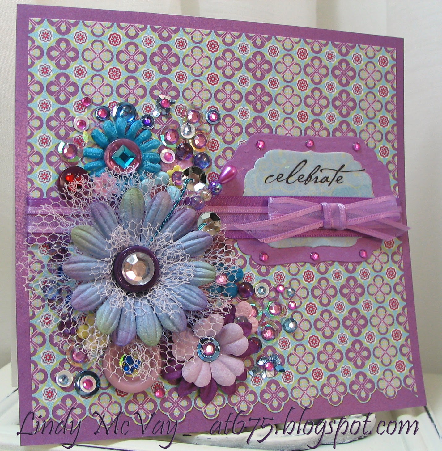 handmade card, birthday card, BasicGrey, Euphoria 6x6, BasicGrey  Spellbinders Labels Four die, Cloud 9 Design rub-ons, Offray ribbon, paper flowers, Prima paper flowers, silk flowers, Bazzill Bitty Blossom, stickpin, beads, buttons, sequins, gems, dewdrops, colored wire, netting