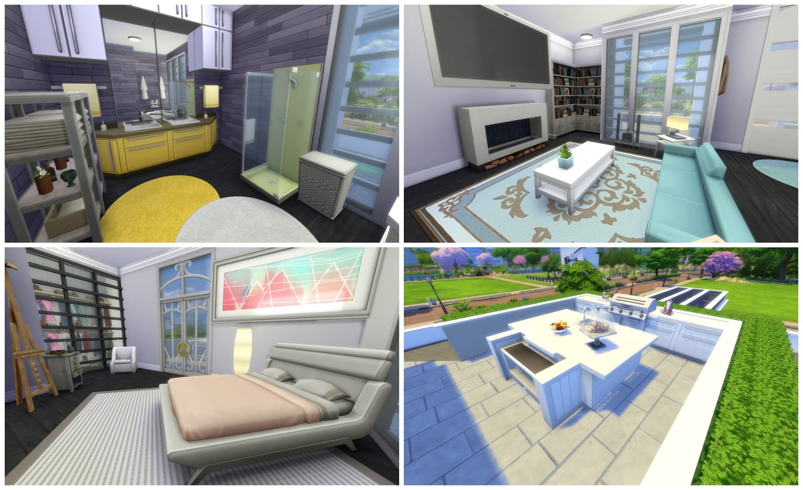 Sims 4 Modern House Gray Beauty Dinha