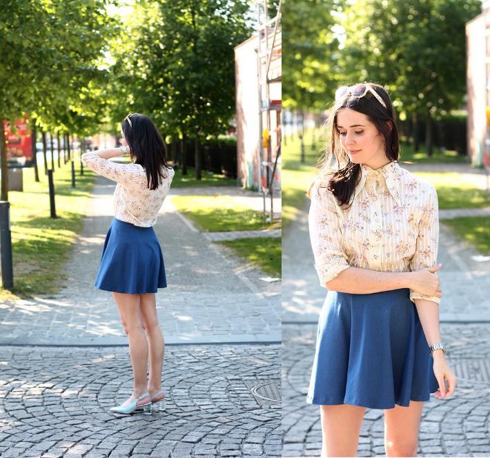 skater skirt vintage floral blouse zinda shoes