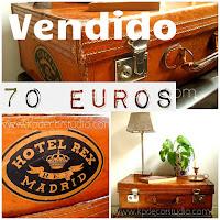 Tienda vintage online de maletas antiguas de viaje con restos de pegatinas de viajes y hoteles. Maletas de cuero y piel