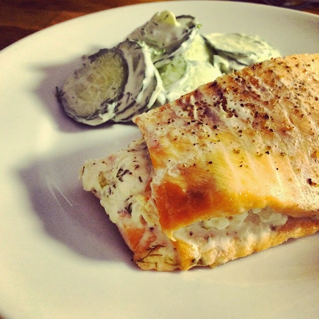 Cream Cheese, Scallion and Prawn Stuffed Salmon