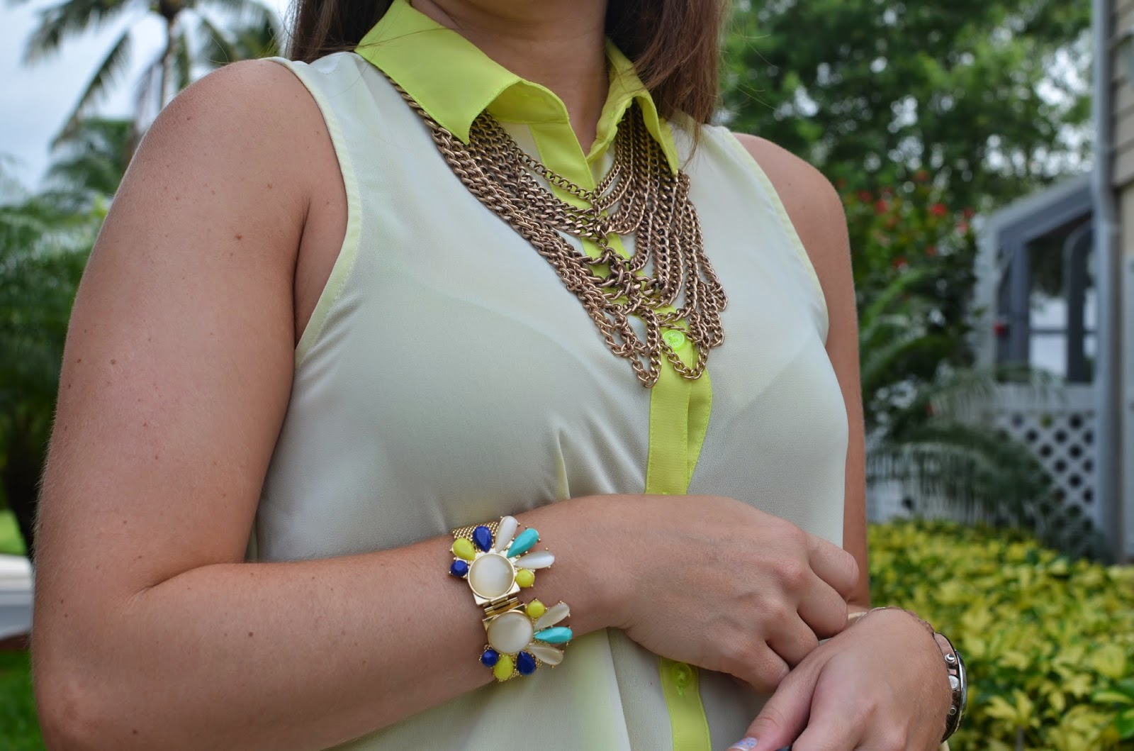 statement necklace - Emma & Sophia bracelet - neon top