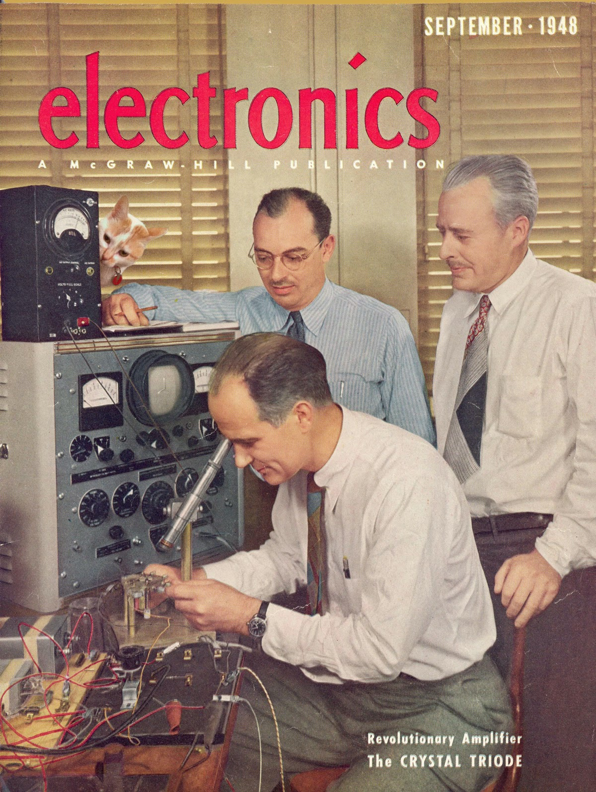 transistor electronics 1948 William Shockley John Bardeen Walter Brattain Bell Labs Chloe Cat Josef Spalenka
