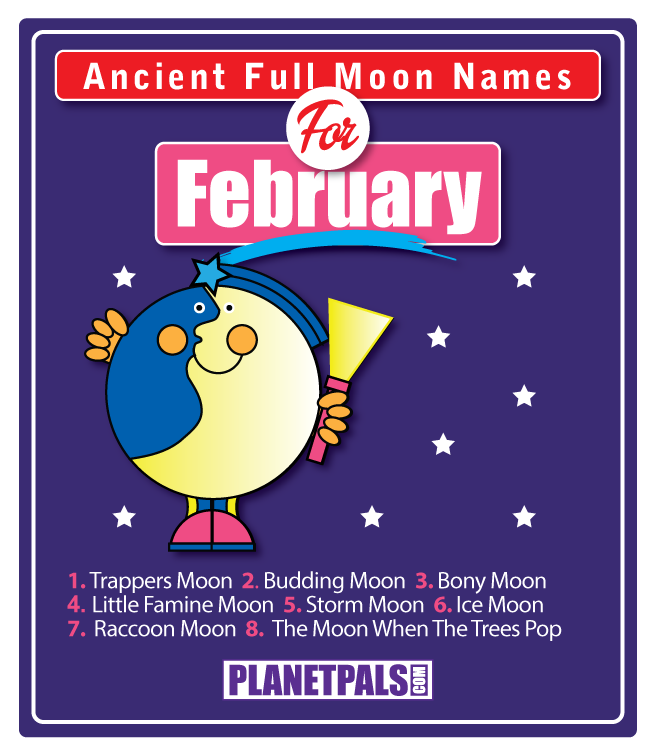 Fun Feb full moon, full moon names, full moon phases, full moon facts