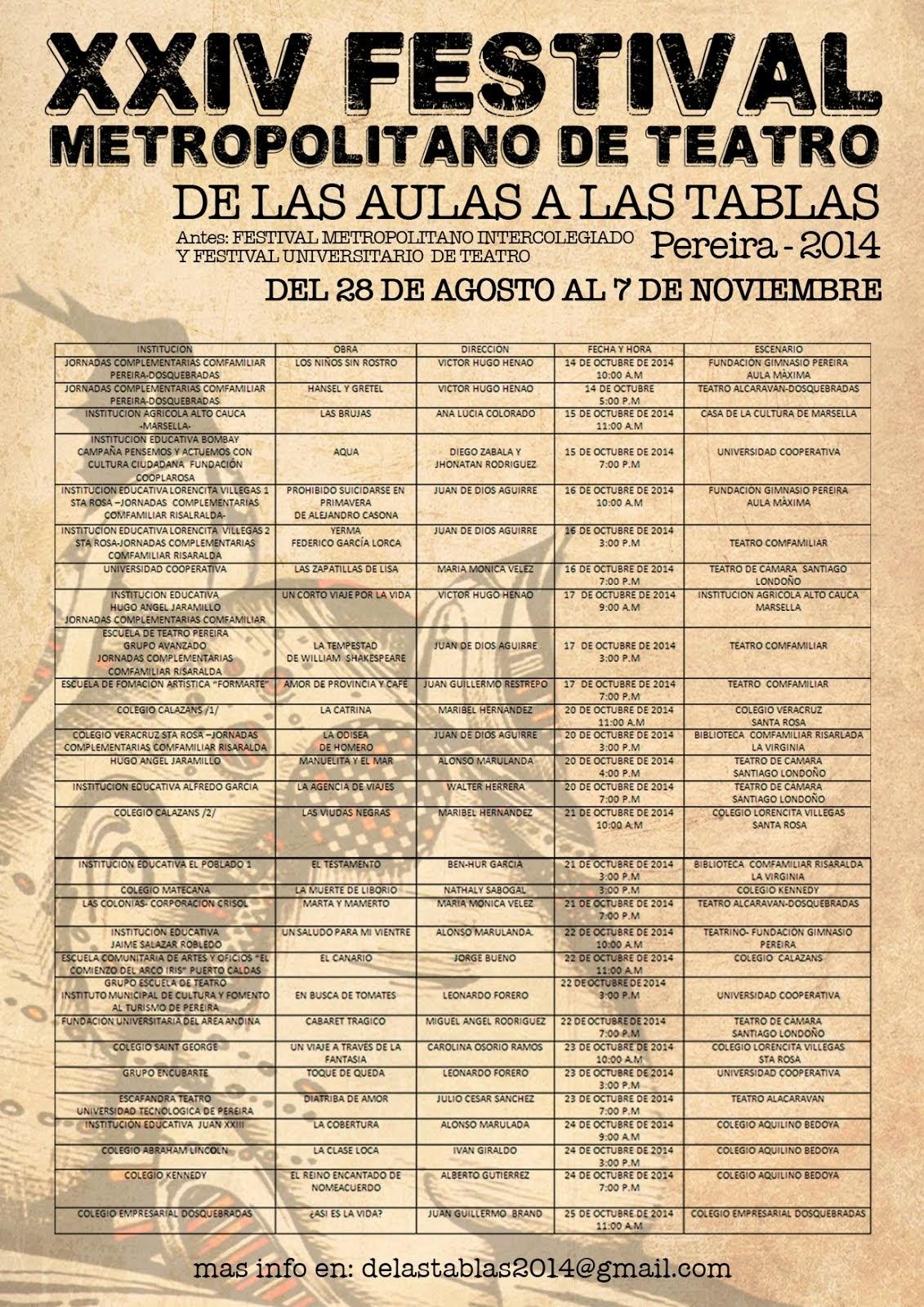 XXIV Festival Metropolitano De Teatro, De las aulas a las tablas 2014