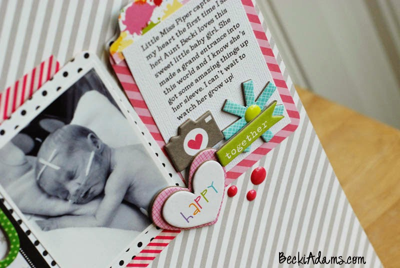 Baby Girl Scrapbook Layout created by Becki Adams @jbckadams #scrapbook #papercrafting #layout