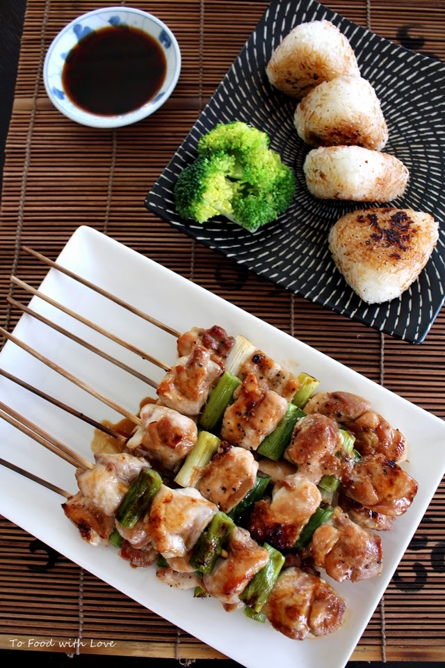 yakitori with yaki onigiri (grilled chicken with grilled rice ball)