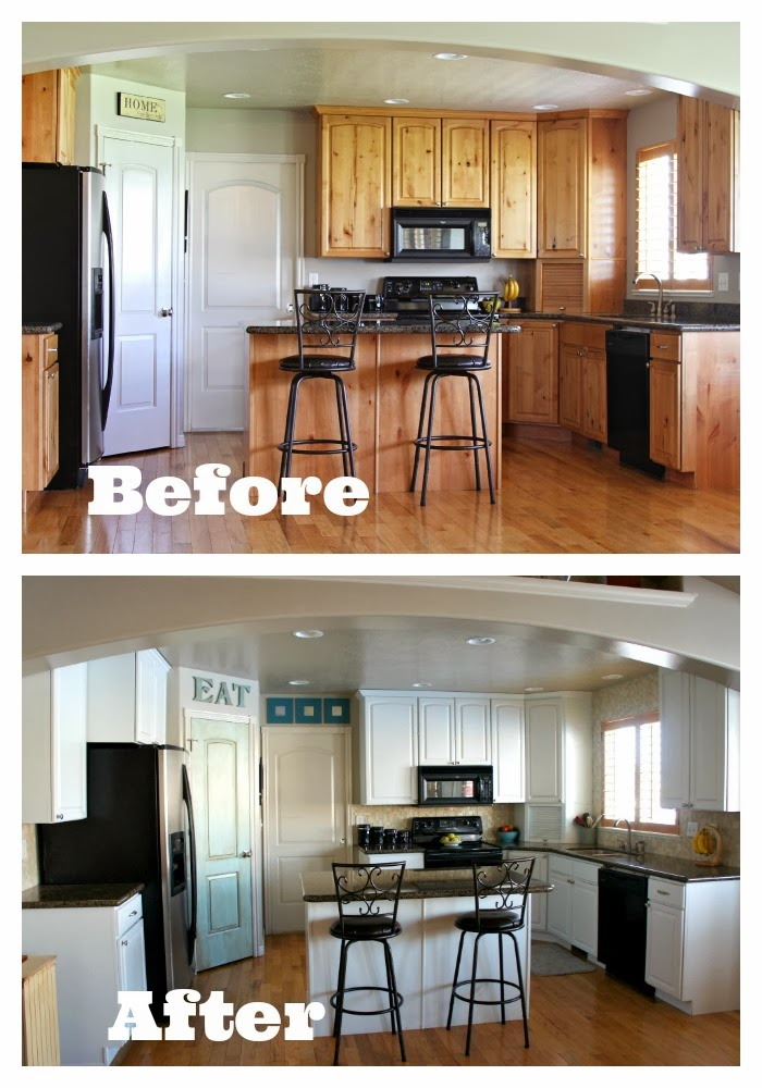 Before And After Photos Of Kitchen With Painted Cabinets And Tile And