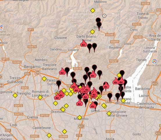 Mappa delle allerte nella Provincia