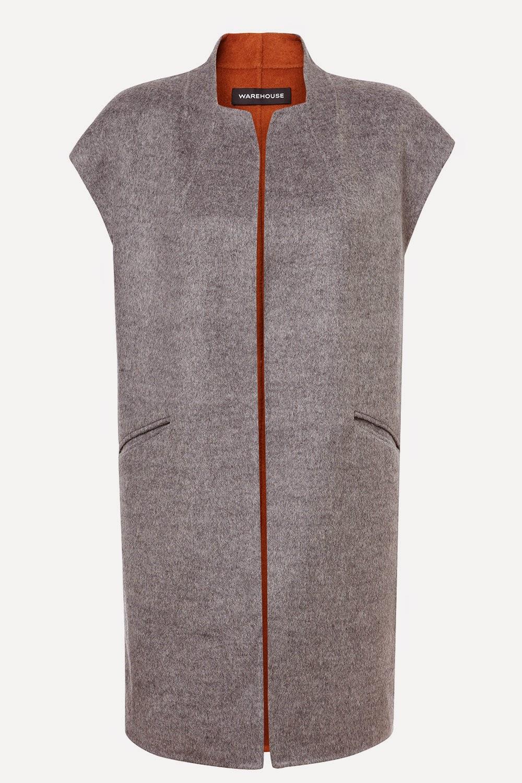 warehouse grey sleeveless coat