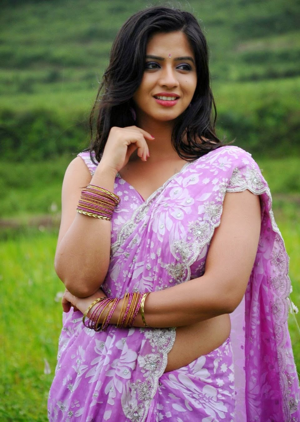 Actress Nisha Shah Hot Navel Show In Saree Stills