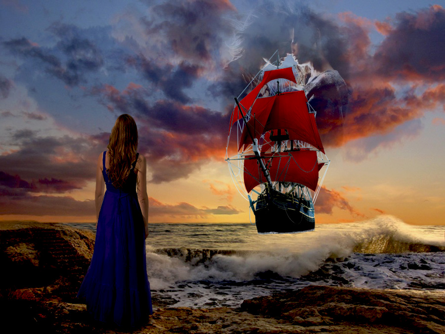 Желаю тебе этот океан счастья, эту яхту, алые паруса романтики и всегда ждущую тебя на берегу эту чудесную девушку