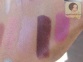 MAC Lipsticks in Innocence, Beauty, Dramatic Encounter, Outrageously Fun