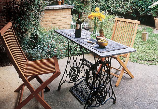 Mesas de comedor y desayunadores hechos con bases de - Mesas de escritorio antiguas ...