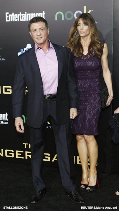 Sylvester Stallone e sua esposa Jennifer Flavin na Premier de Jogos Vorazes