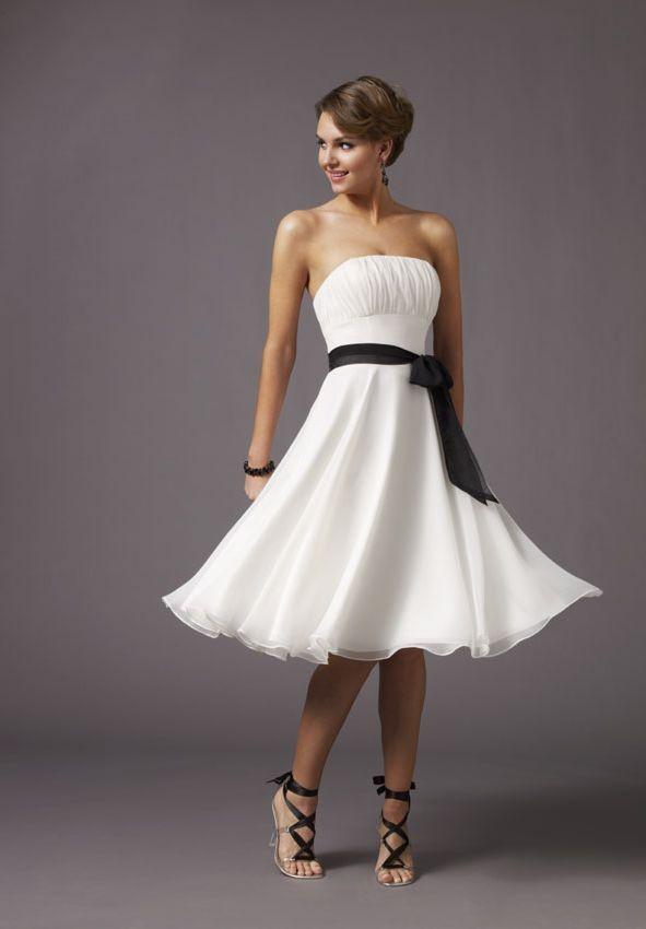 Chiffon Strapless A-Line Short Bridesmaid Dress