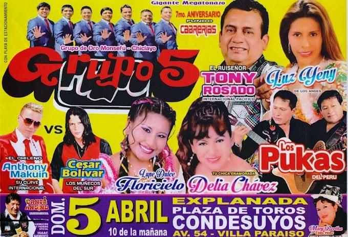 Grupo 5 y muchos artistas más, aniversario Fundo Cabrerias - 05 de abril