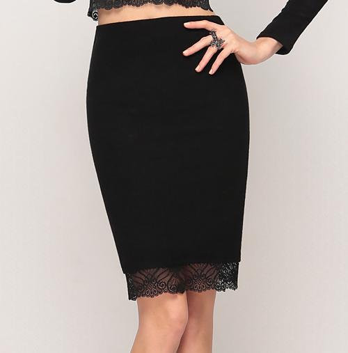 Ribbed Lace Hem Skirt