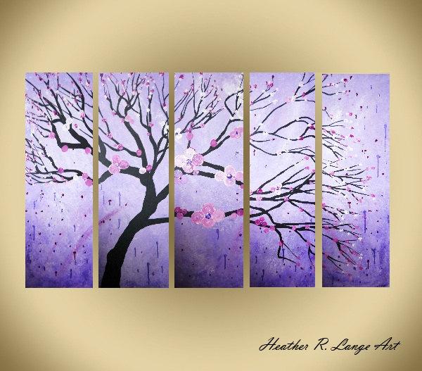 "3 Piece Purple Cherry Blossom Muti Panel Abstract Modern: Heather R. Lange Art: ORIGINAL Modern Impasto Art ""Purple"