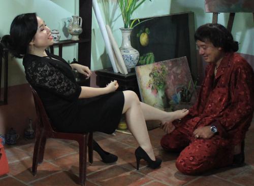 Một cảnh phim của Trương Phương và Chiến Thắng trong phim hài Tết 2015