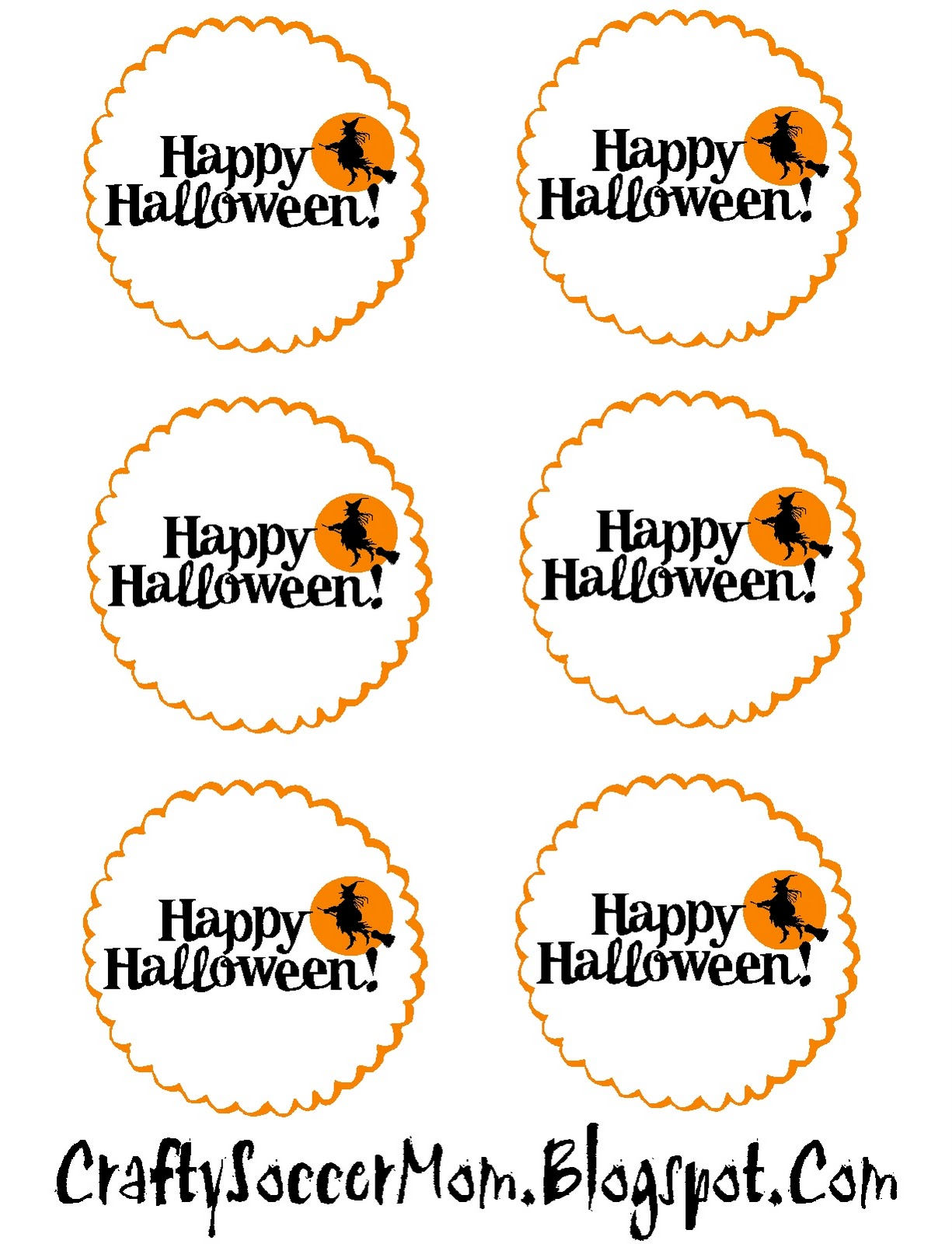 picture relating to Printable Halloween Tag referred to as Cunning Football Mother: Halloween Tag Printables