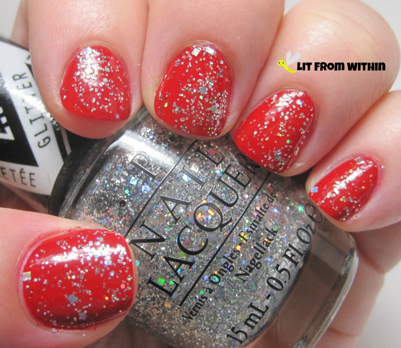 OPI In True Stefani Fashion is a glitterbomb of silver and holo in tiny hexes and medium squares