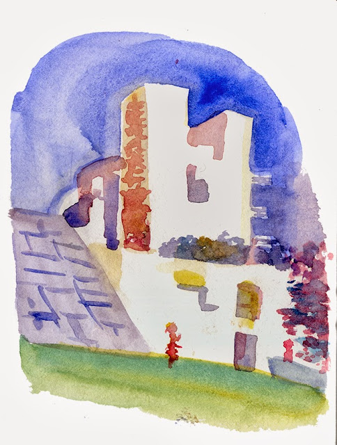 "shiho nakaza getty watercolor sketch autumn ""Los Angeles"" building museum"
