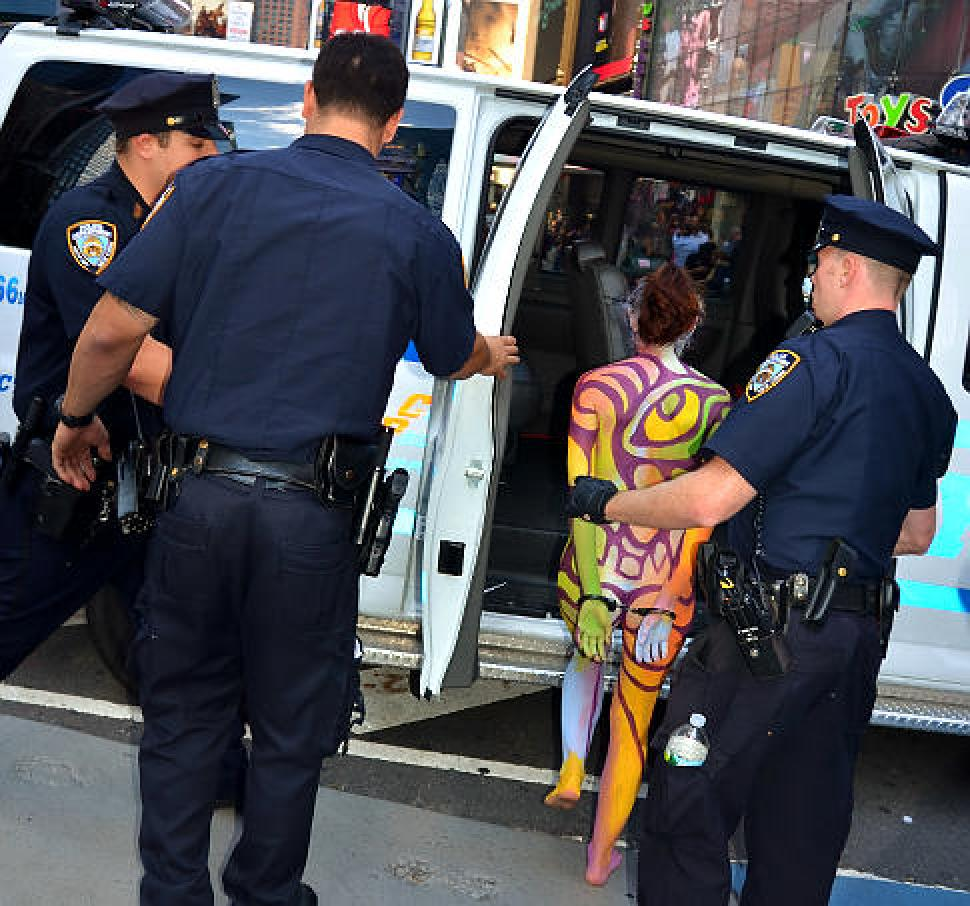 Nude model busted in Times Square - NY Daily News