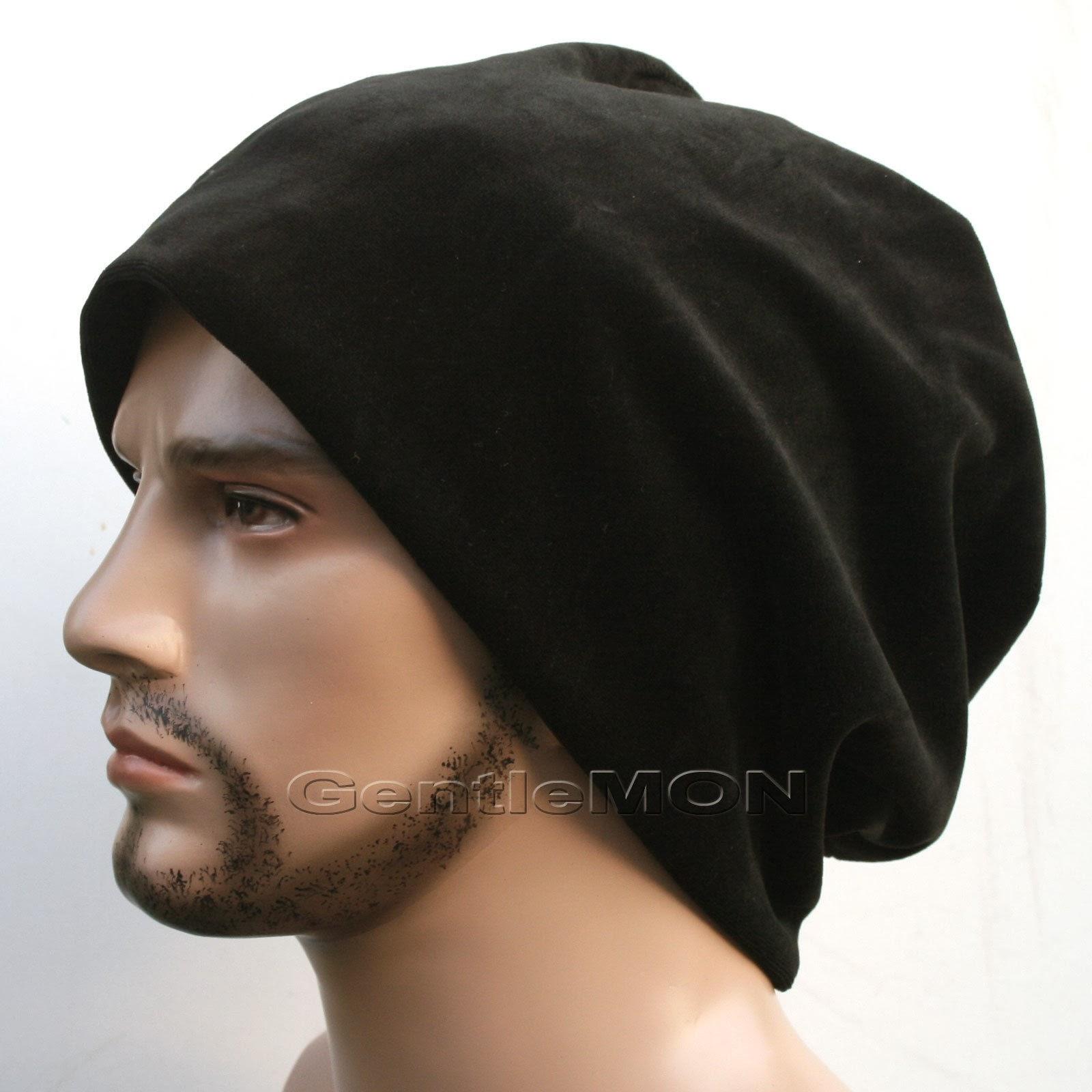 OVERSIZED Cotton Velour Skull Slouchy BEANIE Ear Warmer Hat Cap Head Wrap/VEL