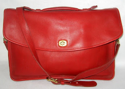 Red Vintage Coach Leather Briefcase