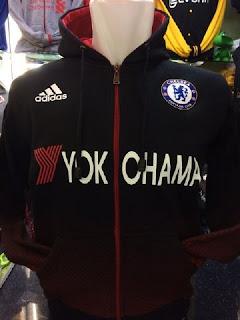 gambar detail jaket bola hoodie sweater chelsea terbaru Jaket hoodie Chelsea warna hitam Yokohama terbaru musim 2015/2016 di enkosa sport toko online pakaian olahraga terpercaya