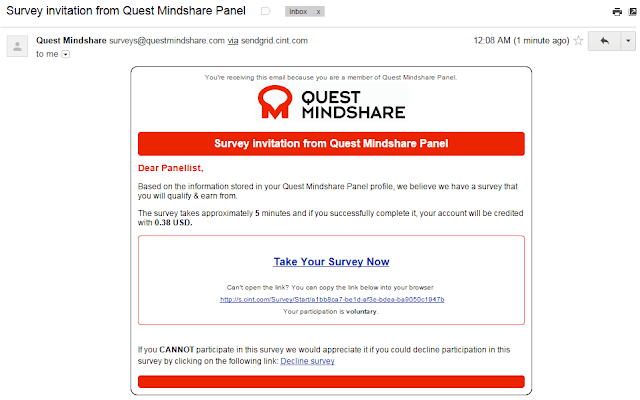 Quest mind share email survey invitation