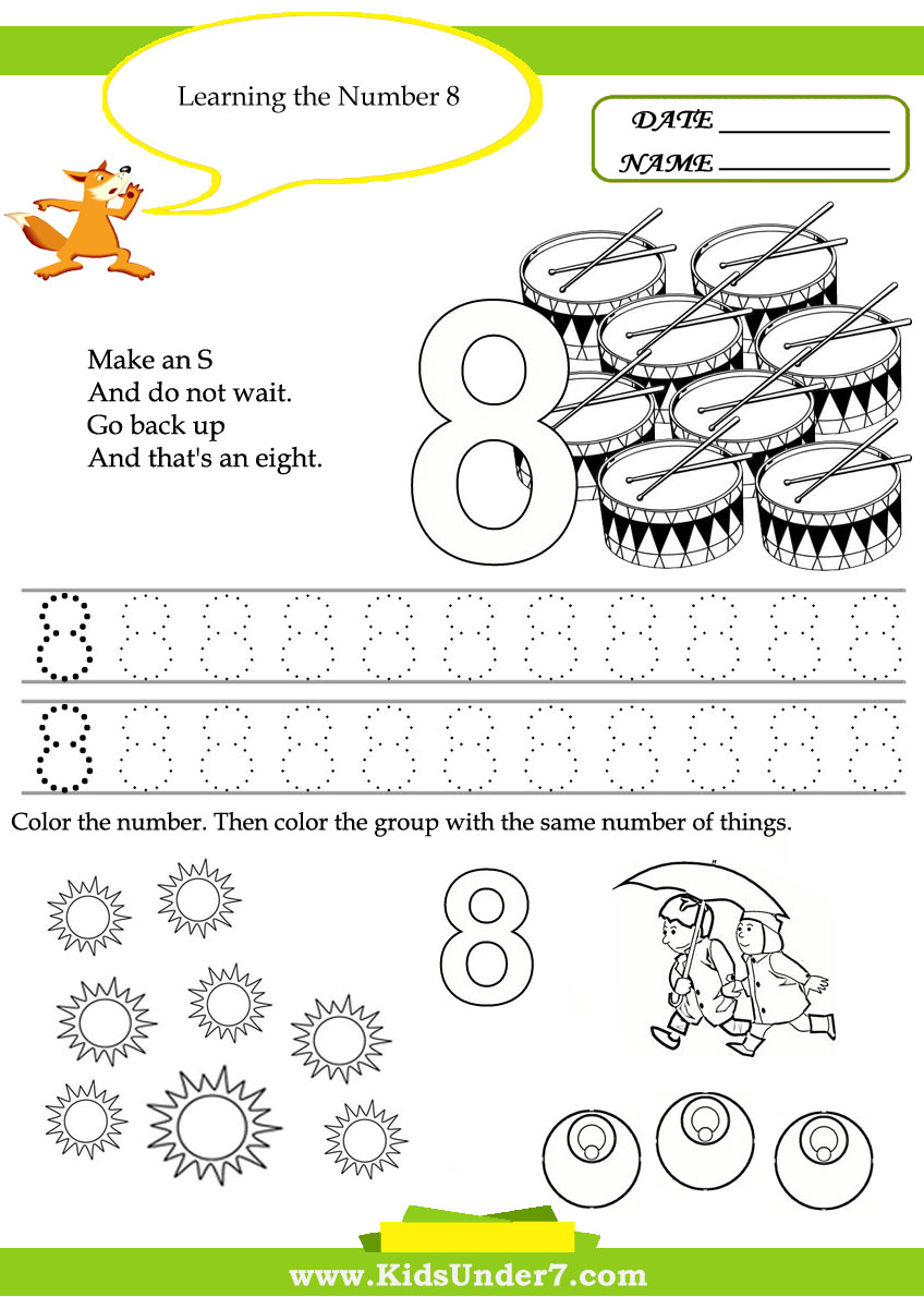 Kids Under 7 Free Printable Kindergarten Number Worksheets – Number 8 Worksheets