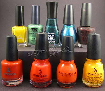 OPI Teasey Does It China Glaze Surfin' for Boys Sinful Colors Big Daddy Jessica Bright Lights Sinful Colors Gorgeous China Glaze Sun Worshipper Sally Hansen Jumpin' Jade NYC Big Money Frost Love & Beauty Yellow